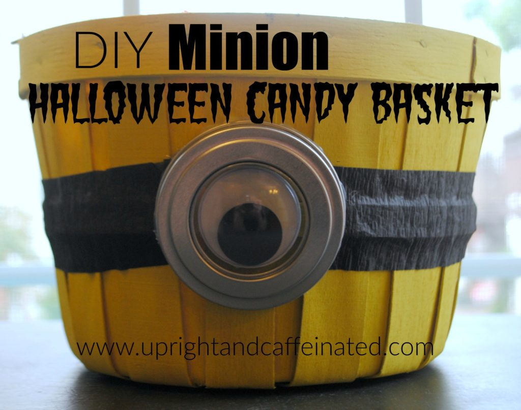 DIY Minion Halloween Candy Basket - Upright and Caffeinated