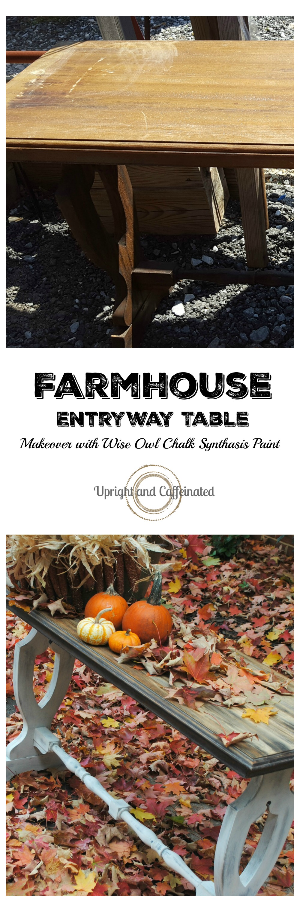Check out this transformed table! Farmhouse Entryway Table makeover using Wise Owl Chalk Synthesis Paint.
