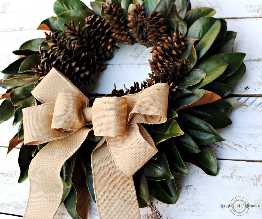 Natural Fall Wreath: Magnolia Leaves and Pine Cones