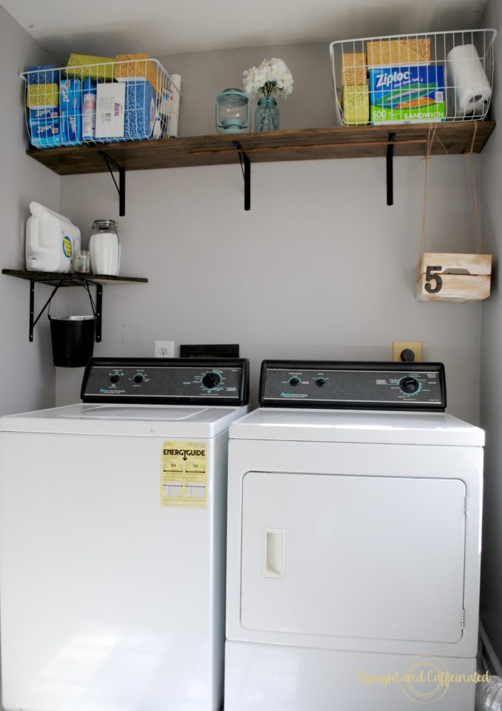 Check out this amazing DIY project. $50 laundry room makeover in a rental. Seriously, that only cost fifty dollars!