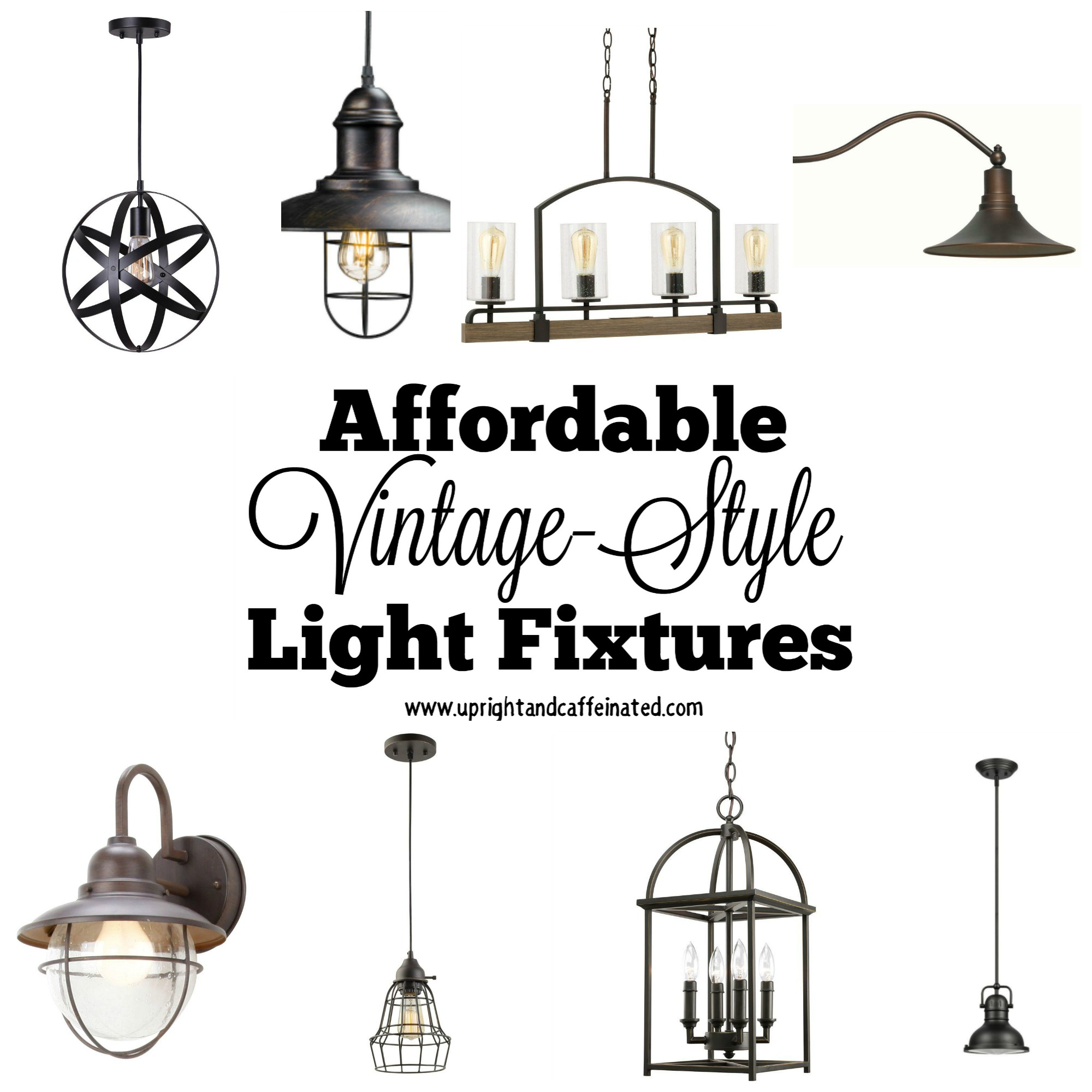 A complete list of affordable vintage light fixtures found at the Home Depot.