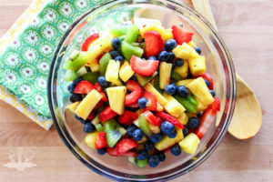 Fruit salad is a great addition to any picnic. This is one of my favorite side dishes for potlucks or picnics!