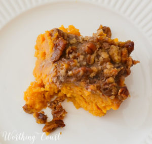 Sweet potato casserole isn't just for Thanksgiving! Bring this side dish to your next potluck and everyone will love it!