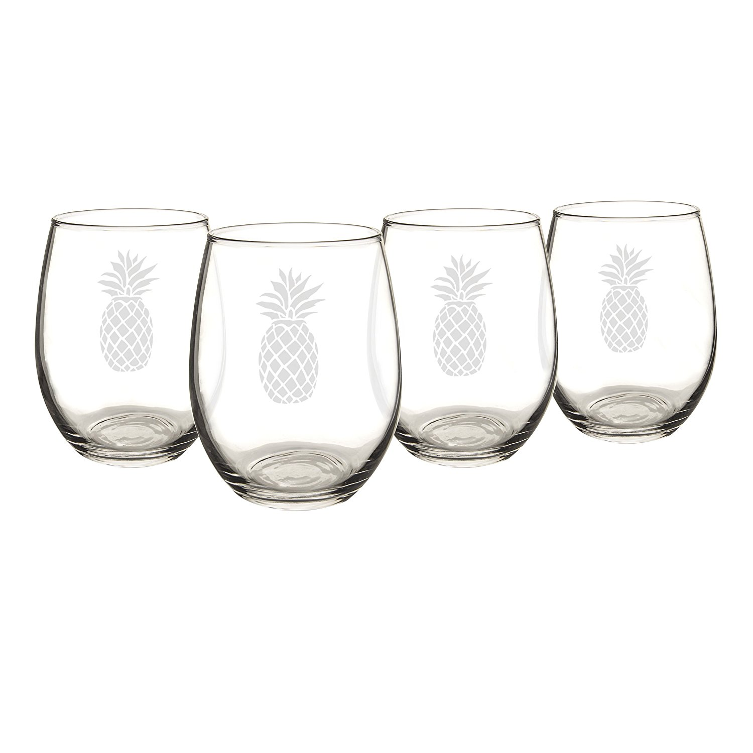 Beautiful etched wineglasses are perfect for this summer if you are looking for pineapple decor!
