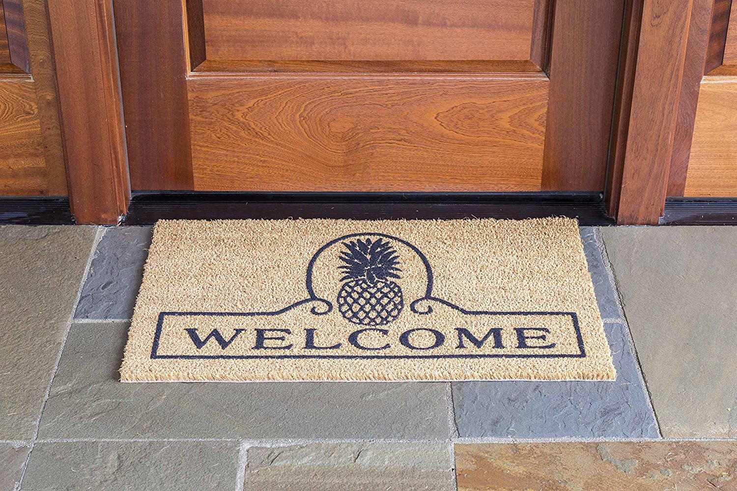 Pineapples are the symbol of welcome and this doormat is perfect for a home with pineapple decor!