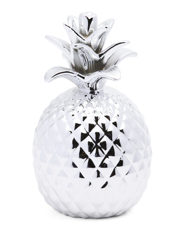 This striking pineapple decor piece is porcelain and silver!
