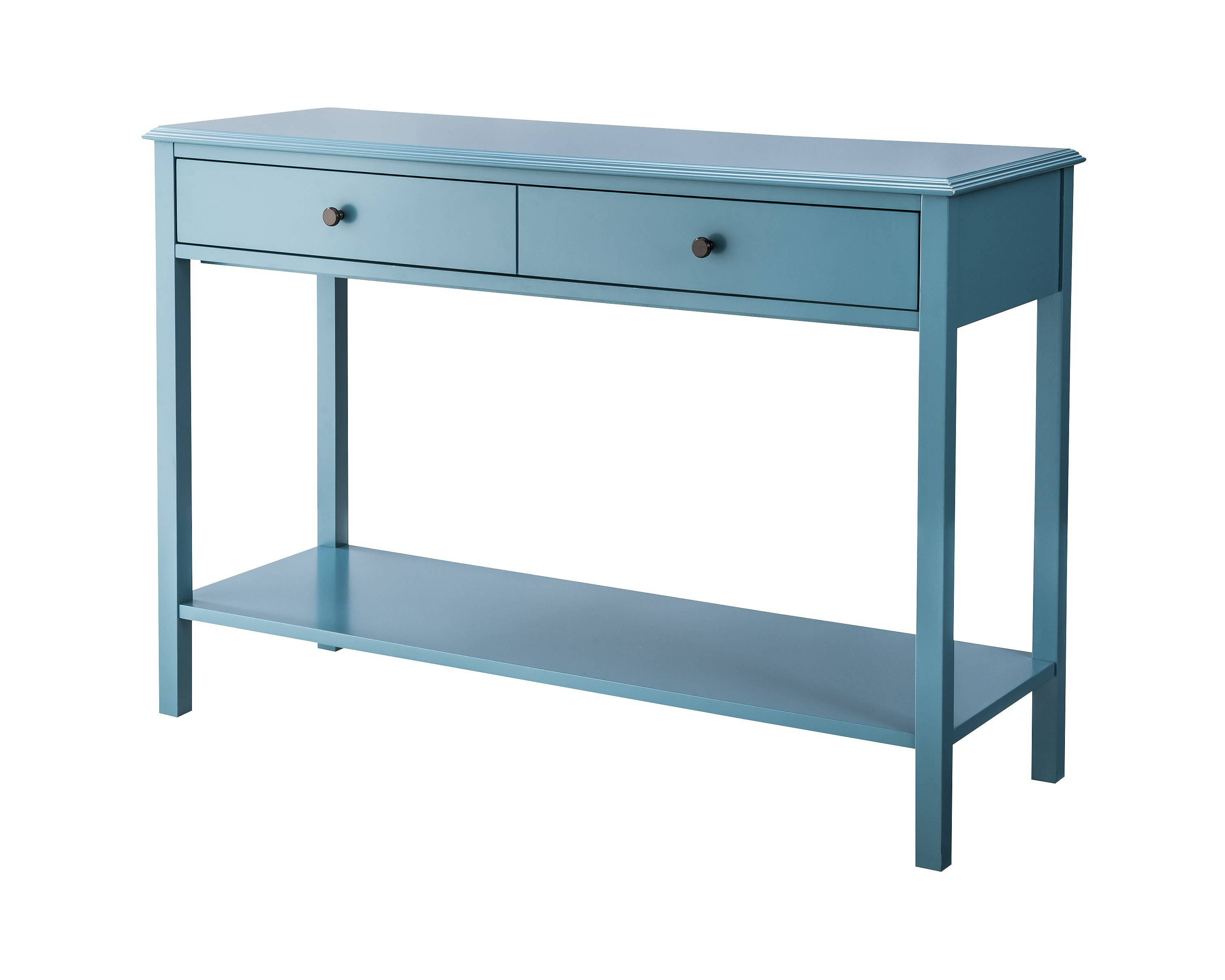 I love the color of this entryway table. Perfect for a coastal feel!
