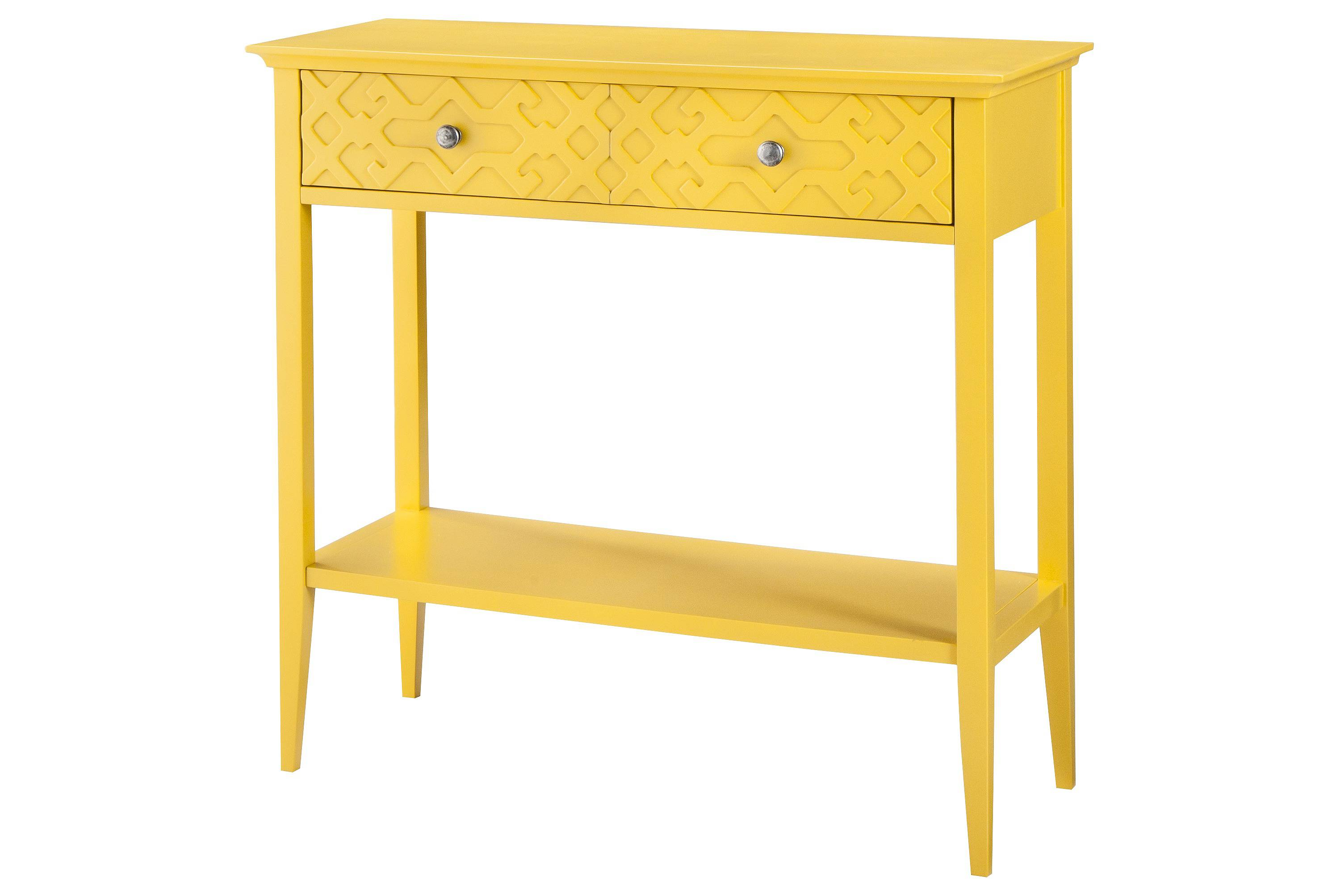 This yellow entryway table will brighten any home!