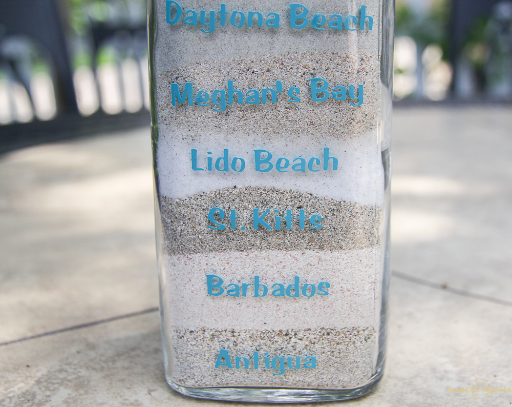 Layer sand from the beach to make this simple beach souvenir.