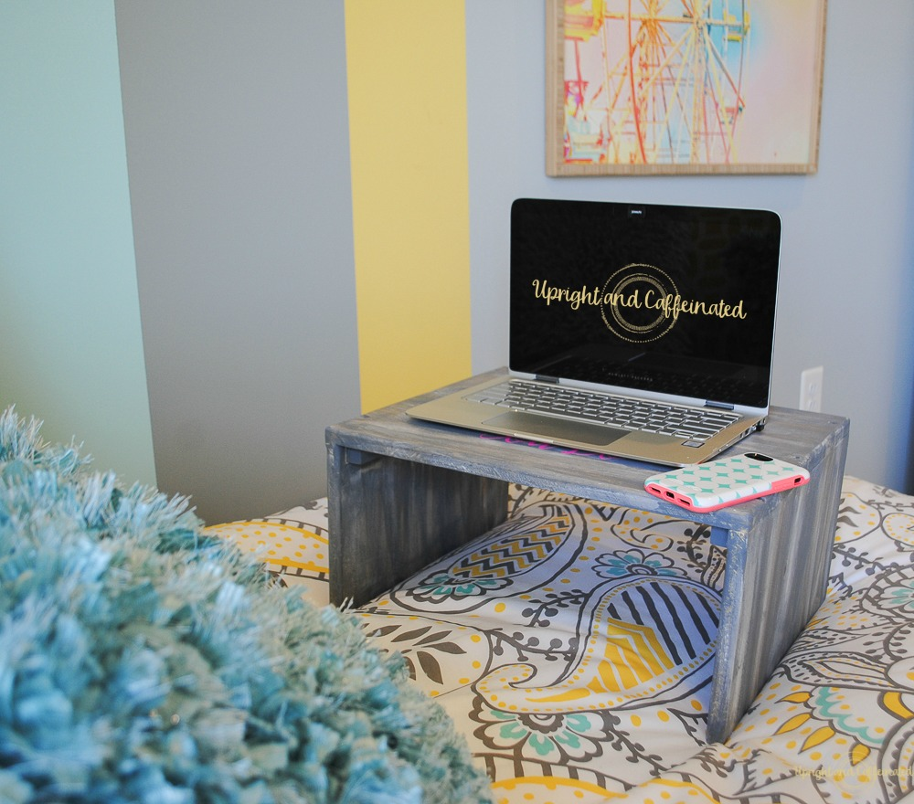 Make a DIY laptop table for a dorm room and customize it with a Cricut Explore Air 2.