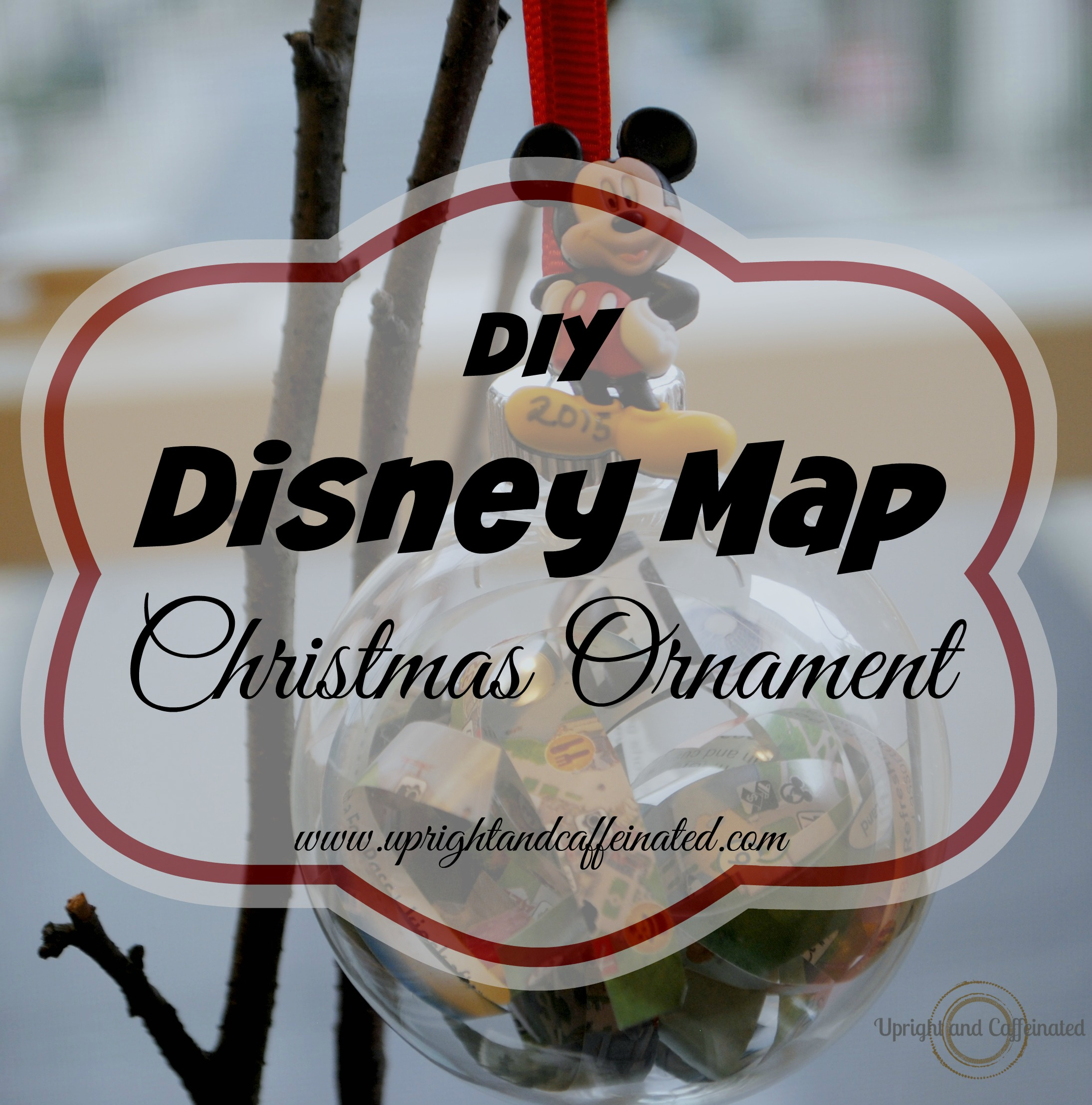 Make this cute and inexpensive DIY Disney Map Christmas Ornament with FREE Disney maps!
