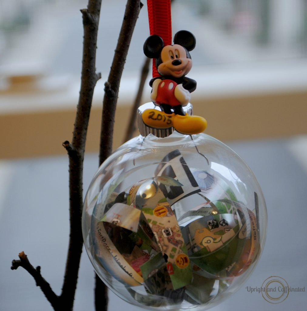 Diy disney map christmas ornament upright and caffeinated