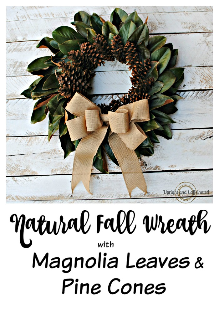 Check out this stunning natural fall wreath made with magnolia leaves and pine cones!