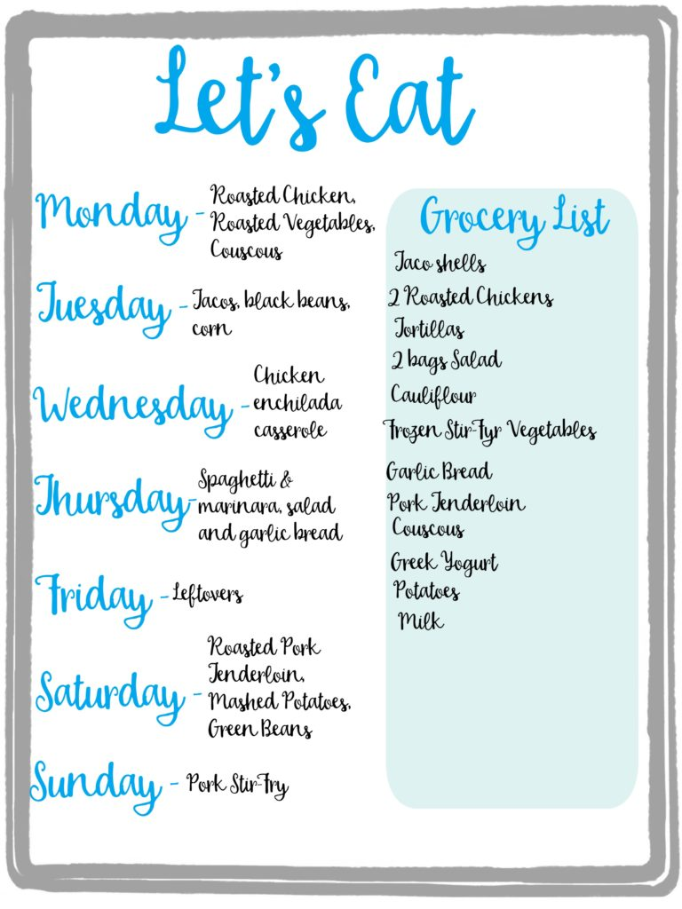 Meal Planning Upright and Caffeinated – Sample Meal Planning