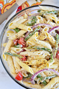 Pasta salad is a great side dish for any gathering. Bring this as a side dish to your next event and everyone will ask for the recipe!
