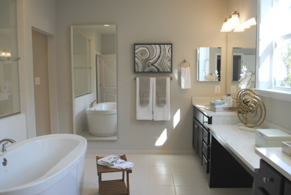 This bathroom is full of upgrades from a custom builder. The cost of building a house can differ greatly by how much you upgrade.