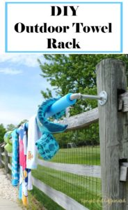 Make this easy DIY outdoor towel rack this summer in less than 30 minutes!