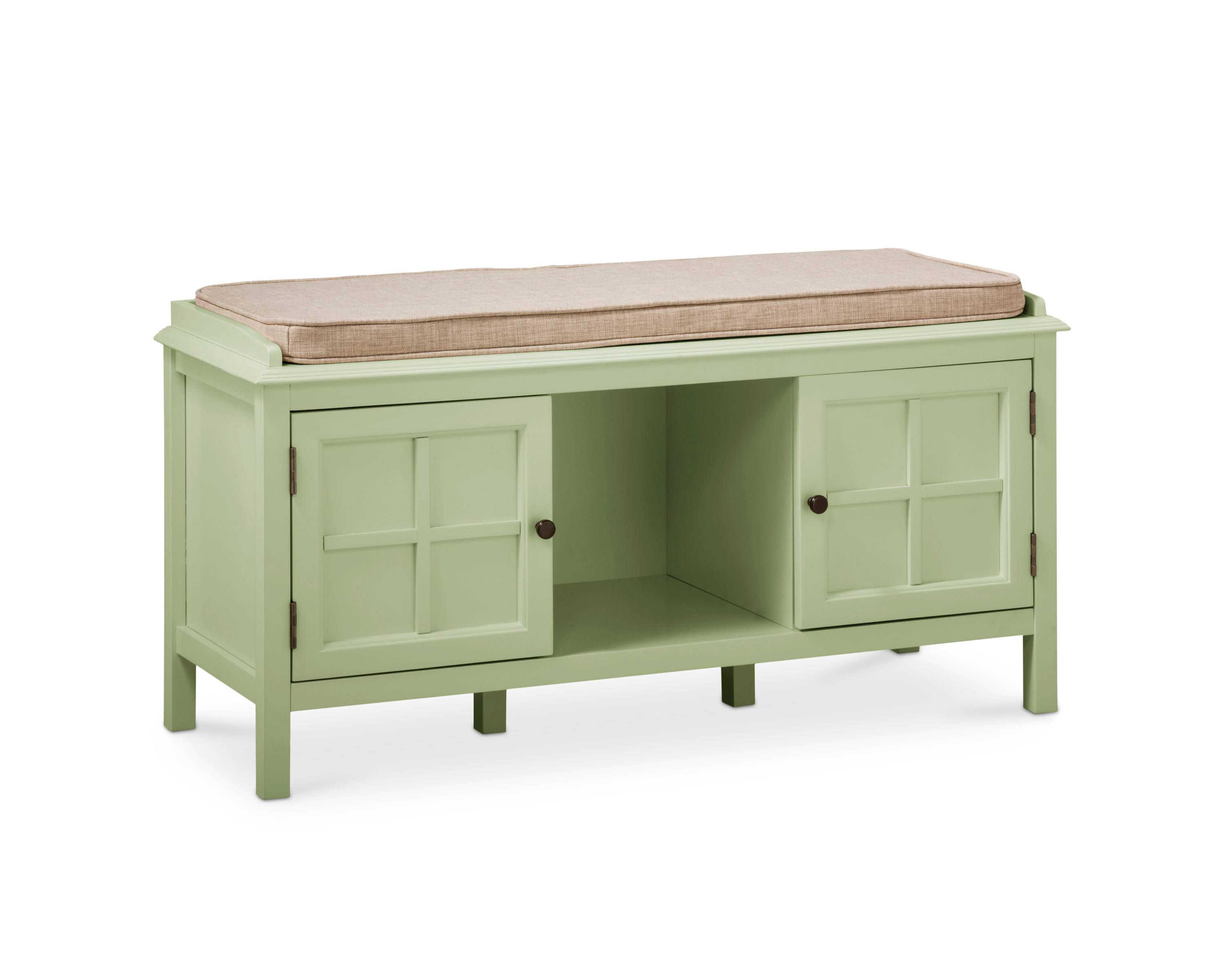This bench is a perfect entryway table because of the functionality of it. Love the storage!
