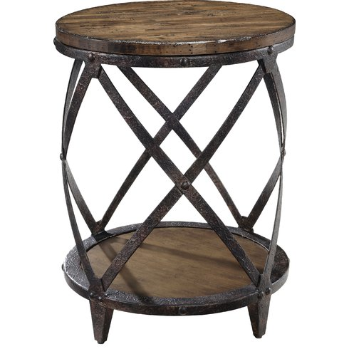 This accent table brings a bit of rustic charm to our living room design plans.