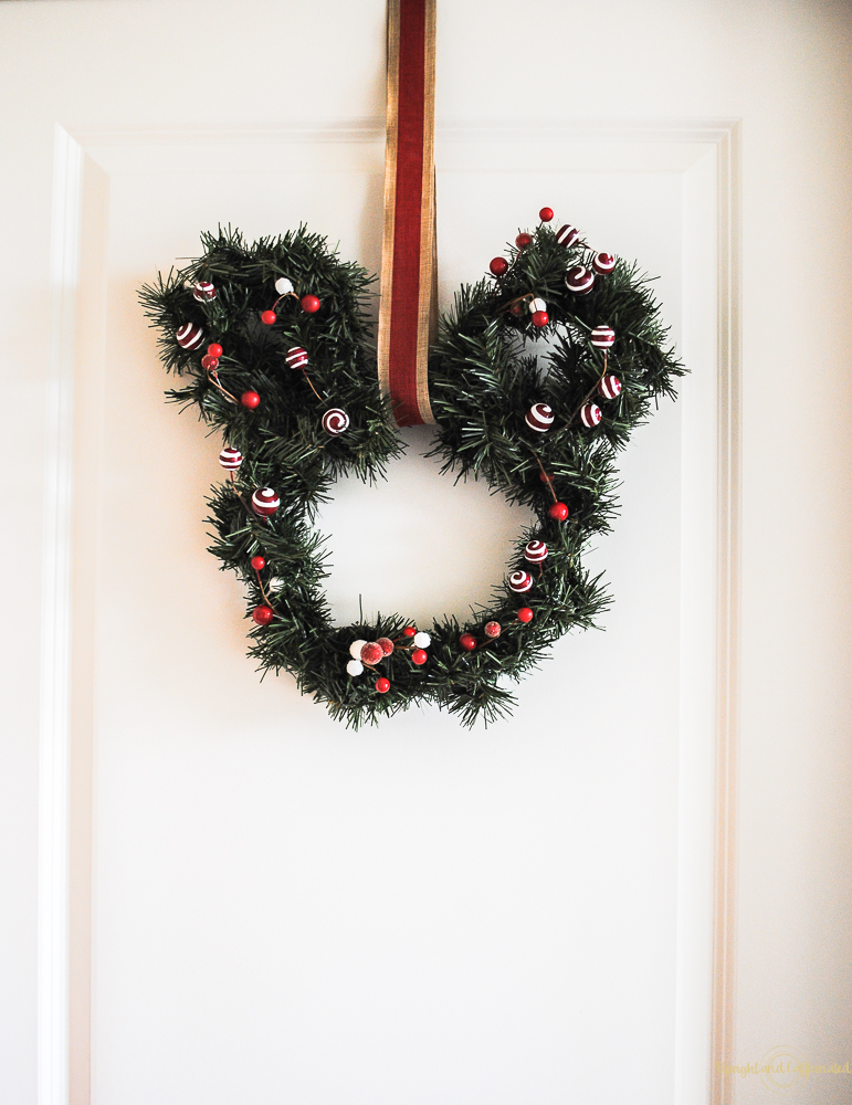 I made this wreath out of garland to go with my Disney Christmas tree decorations.