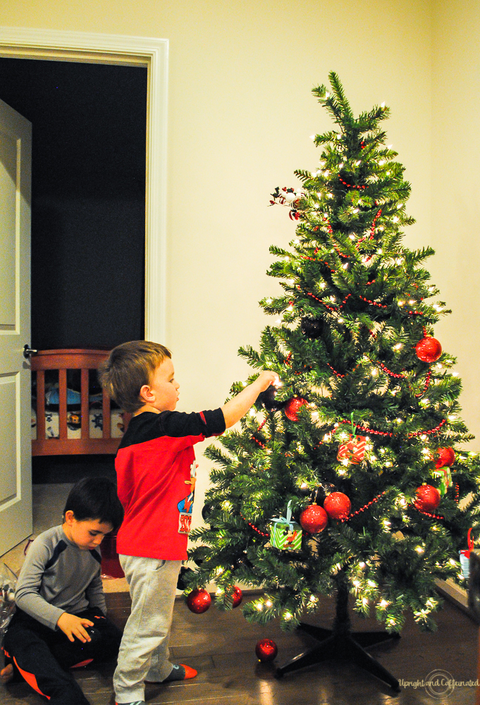 Kids can help with Christmas tree decorations too!