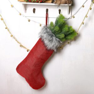 Beautiful fur-topped Christmas Stocking under $20.