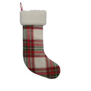 Traditional plaid Christmas Stocking under $20.