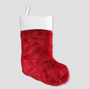 Traditional red plush Christmas Stocking under $10