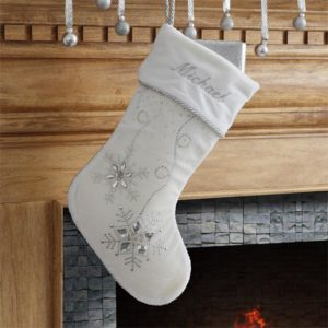 This beautiful silver Personalized Christmas Stocking is less than $20