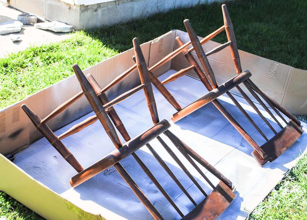 Let me show you how to spray paint furniture like these basic kitchen chairs.
