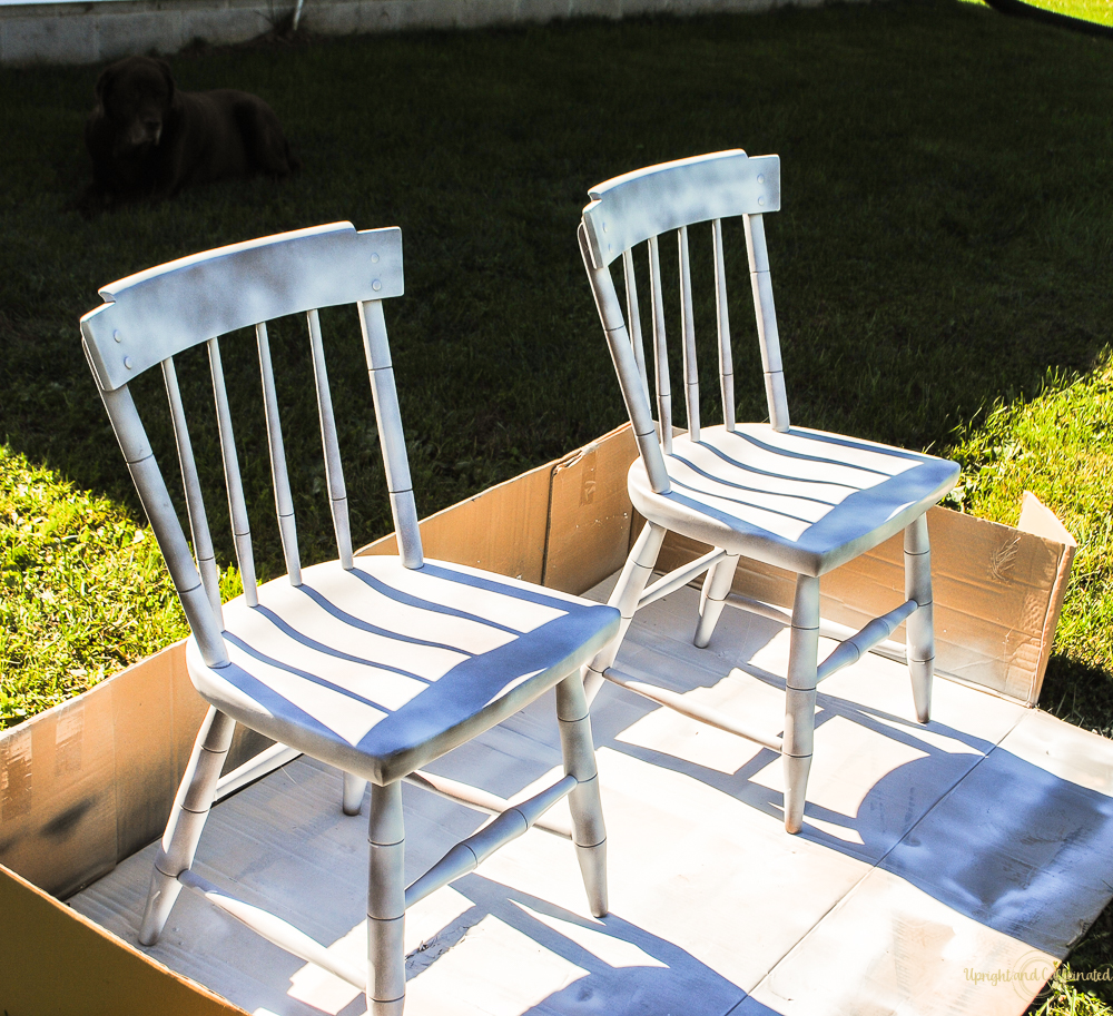 It takes a few cans of spray paint to spray paint furniture like chairs.