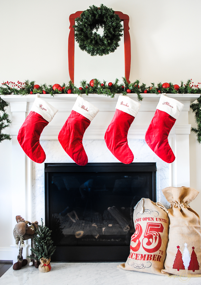 the stockings are from pottery barn and the sparkly red balls and berries are from michaels - Michaels Christmas Stockings