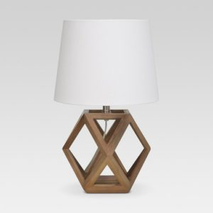 I love the warm wood of this nightstand lamp. And for under $50!