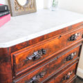 This antique dresser was finished with Wise Owl Lemon Verbena Furniture Salve.